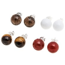 Aluma USA Gemstone Post Earrings - Stainless Steel in Red/Tiger Eye/White/Smokey - Closeouts