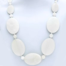 Aluma USA Graduated Stone Necklace in White Marble - Closeouts
