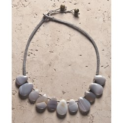 Aluma USA Grey Agate Teardrops Necklace in Grey