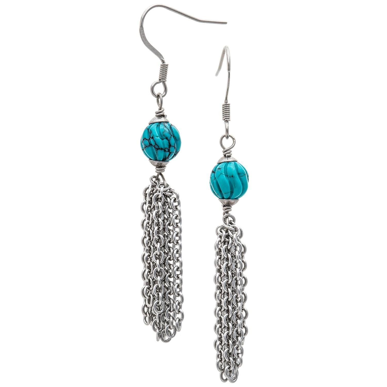 aluma usa hubei turquoise tassel earrings in turquoise silver