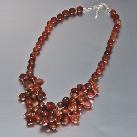"Aluma USA Knotted Drop Cluster Necklace - 18-20"" in Carnelian/Red Agate"