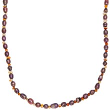 Aluma USA Long and Lean Necklace - Carnelian, Freshwater Pearls in Antique Rose Fwp/Carnelian - Closeouts