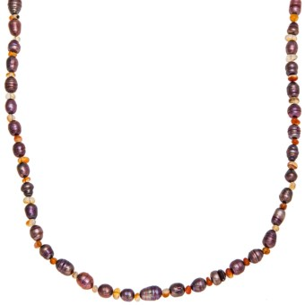Aluma USA Long and Lean Necklace - Carnelian, Freshwater Pearls in Antique Rose Fwp/Carnelian