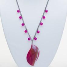 "Aluma USA Mauve Lace-Purple Banded Agate Necklace - 18""+2"" in Mauve/Purple - Closeouts"