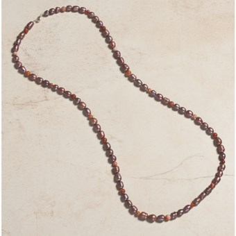 "Aluma USA Pearl and Agate Necklace - 40"" in Dusty Rose"