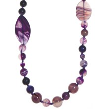 Aluma USA Purple Agate Necklace - Sterling Silver in Purple Agate/Stainless Steel - Closeouts