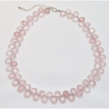 "Aluma USA Rose Quartz Necklace - 20"" in Pink - Closeouts"