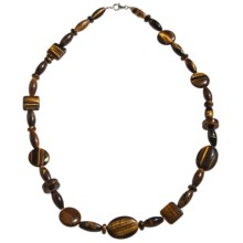 "Aluma USA Tiger's Eye Necklace - Sterling Silver, 20"" in Tiger Eye - Closeouts"
