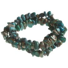 Aluma USA Turquoise 3-Row Chip Stretch Bracelet in Turquoise - Closeouts