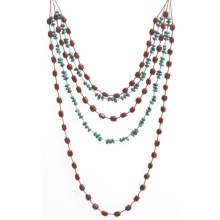 "Aluma USA Turquoise and Coral Necklace - 18-20"" in Turquoise/Coral - Closeouts"
