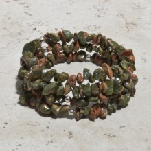 Aluma USA Unakite Coil Bracelet - Sterling Silver in Green/Peach - Closeouts