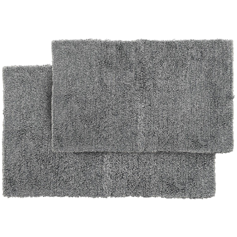 Grey Ribbed Cotton Bath Rugs