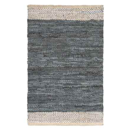"""AM Home Textiles Leather Border Scatter Rug - 2x3"""" in Grey - Closeouts"""
