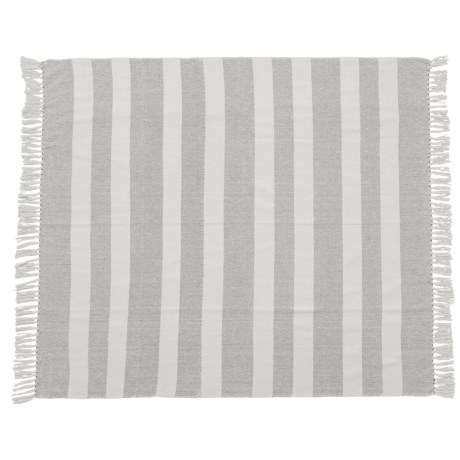 "AM Home Textiles Striped Cotton Throw Blanket - 50x60"" in Light Grey"