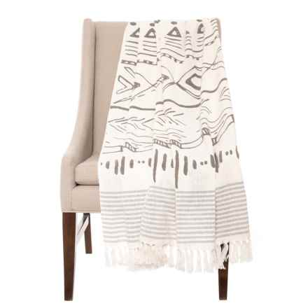 "AM Home Textiles Textiles Grey Aztec Design Throw - Reversible, 50x60"" in Grey - Closeouts"
