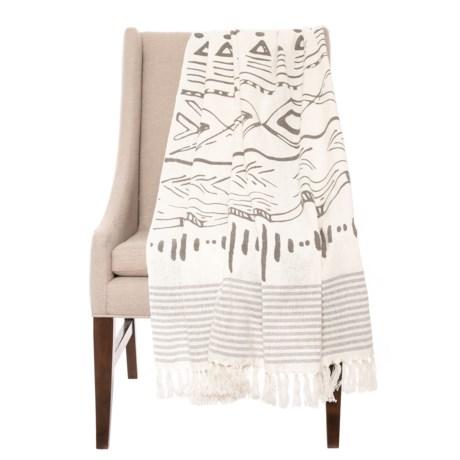 "AM Home Textiles Textiles Grey Aztec Design Throw - Reversible, 50x60"" in Grey"
