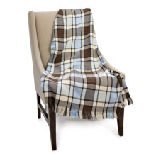 "Amana Cotton Plaid Cotton Throw Blanket - 50x70"" in Light Blue Plaid - Closeouts"