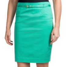 Amanda + Chelsea Belted Skirt - Stretch Cotton Sateen (For Women) in Mint - Closeouts