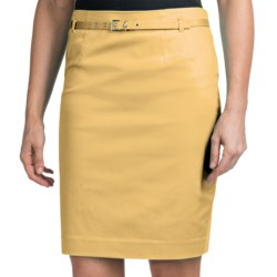 Amanda + Chelsea Belted Skirt - Stretch Cotton Sateen (For Women) in French Blue