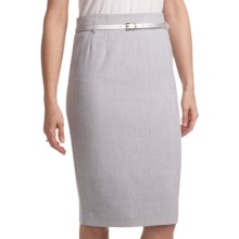 Amanda + Chelsea Belted Straight Dress Skirt (For Women) in Light Grey - Closeouts