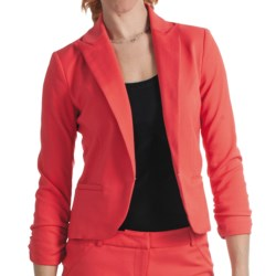 Amanda + Chelsea Cotton Blend Jacket - Ruched 3/4 Sleeve (For Women) in Fruit Punch