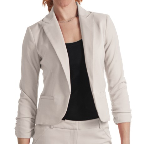 Amanda + Chelsea Cotton Blend Jacket - Ruched 3/4 Sleeve (For Women) in Stone