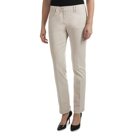 Amanda + Chelsea Cotton Blend Narrow Leg Pants (For Women) in Stone