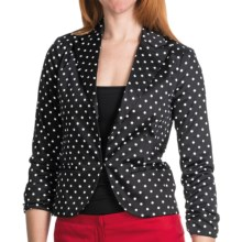 Amanda + Chelsea Cotton Sateen Blazer - 3/4 Shirred Sleeve (For Women) in Black W/White Dot - Closeouts