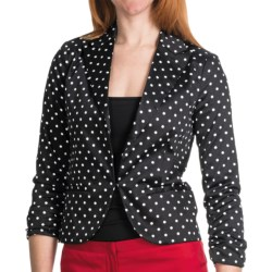 Amanda + Chelsea Cotton Sateen Blazer - 3/4 Shirred Sleeve (For Women) in Black