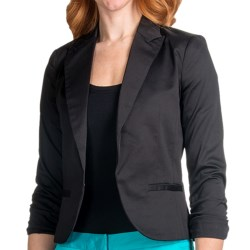 Amanda + Chelsea Cotton Sateen Blazer - 3/4 Shirred Sleeve (For Women) in White