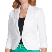 Amanda + Chelsea Cotton Sateen Blazer - 3/4 Shirred Sleeve (For Women) in White - Closeouts