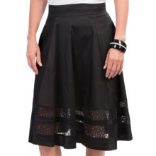Amanda + Chelsea Full Skirt - Stretch Cotton, Lace Insets (For Women) in Black - Closeouts