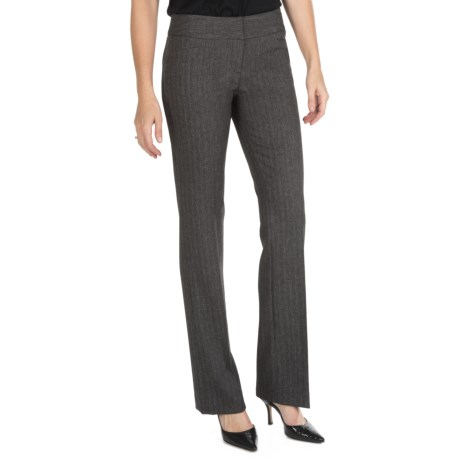 Amanda + Chelsea Herringbone Pants - Low Rise, Straight Leg (For Women) in Grey