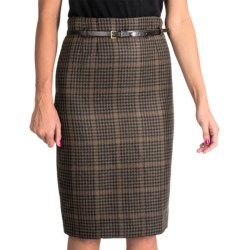 Amanda + Chelsea Long Pencil Skirt - Belted (For Women) in Brown Houndstooth