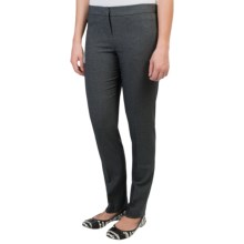 Amanda + Chelsea Mini Check Narrow Leg Pants - Low Rise (For Women) in Salt/Pepper - Overstock