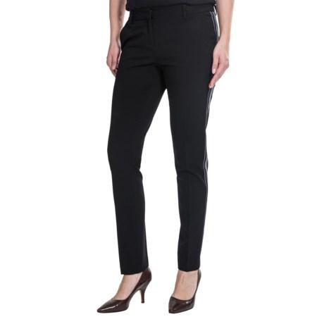 Amanda + Chelsea Narrow Side Stripe Pants - Tapered Leg (For Women) in Black/Pewter