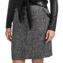 Amanda + Chelsea Nubby Straight Skirt - Pleather Trim (For Women) in Black/White - Closeouts