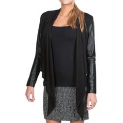 Amanda + Chelsea Open Front Jacket - Pleather Trim (For Women) in Black