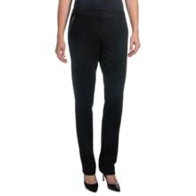 Amanda + Chelsea Pants - Pleather Trim, Narrow Leg (For Women) in Black - Closeouts
