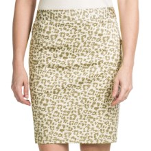 Amanda + Chelsea Printed Sateen Straight Skirt (For Women) in Khaki/White - Closeouts