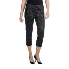 Amanda + Chelsea Sateen Capris - Stretch Cotton (For Women) in Black W/White Dot - Closeouts