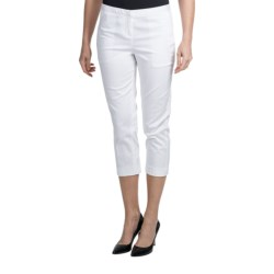 Amanda + Chelsea Sateen Capris - Stretch Cotton (For Women) in Black W/White Dot