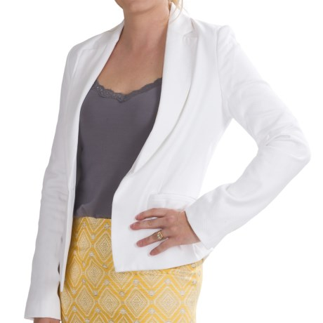 Amanda + Chelsea Small Pique Blazer - Stretch Cotton (For Women) in White
