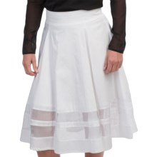 Amanda + Chelsea Stretch Cotton Full Skirt - Sheer Insets (For Women) in White - Closeouts