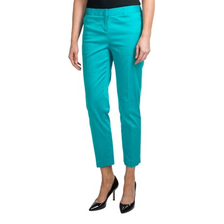 Amanda + Chelsea Stretch Cotton Sateen Ankle Pants (For Women) in Turquoise