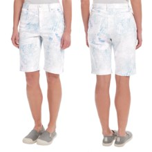 Amanda Bermuda Jean Shorts (For Women) in Blue Watercolor Pastel - 2nds