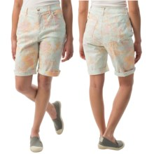 Amanda Bermuda Jean Shorts (For Women) in Green Watercolor Pastel - 2nds