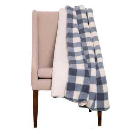 "Amari Slate Plaid Velvet Berber Throw Blanket - 50x60"", Reversible in Slate - Closeouts"