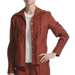 Amelia Austin Washed Linen Shirt - Ruffle, Long Sleeve (For Women) in Rust