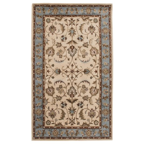 Amer Cardinal Collection Center Medallion Area Rug - 5x8', New Zealand Wool-Cotton in Ivory/Ice Blue